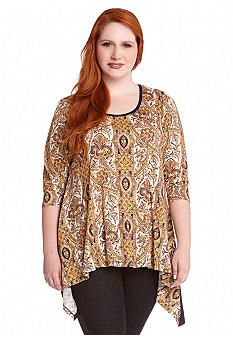 Karen Kane Plus Size Handkerchief Top #Karen_Kane #Plus #Size #Multicolor  #Handkerchief #Top  #Blouse #Plus_Size #Fashion #Belk