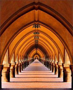 Repetition-all door arch are same shape,color and size. this image has repeat one design of the door arch lots of times on this way. Art Et Architecture, Beautiful Architecture, Beautiful Buildings, Architecture Details, Beautiful Places, Classical Architecture, Vanishing Point, Frank Gehry, Architectural Elements