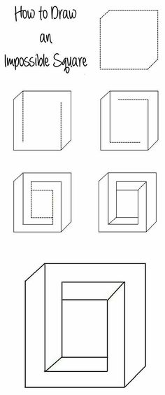 How to Draw an Impossible Square Illusion – www.c… How to Draw an Impossible Square Illusion – www. Illusion Kunst, Illusion Drawings, Cool Art Drawings, Easy Drawings, Optical Illusions Drawings, Art Optical, Optical Illusion Art, How To Draw Illusions, Optical Illusions For Kids