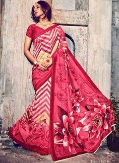 Royal Flower Print Hot Pink Bhagalpuri Silk Sarees http://www.angelnx.com/Sarees/Party-Wear-Sarees