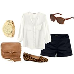 Casual l Summer l Chic: Leopard flats, black shorts, and flowy top Basic Outfits, Short Outfits, Summer Outfits, Casual Outfits, Cute Outfits, Summer Clothes, Mom Outfits, Casual Shorts, Casual Look