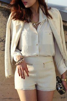 what-do-i-wear:  Jacket- Zara,Blouse-DailyLook,Tweed Shorts-DailyLook,Crystal Necklace-T+J Design,Link Bracelet-T+J Design,Clutch-...