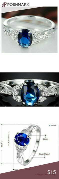 Blue Sapphire with CZ .925 Sterling Silver Ring Blue Sapphire with CZ .925 Sterling Silver Ring Life by Design Jewelry Rings