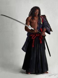 Yasuke, the Black Samurai Black Anime Characters, Dnd Characters, Fantasy Characters, Character Creation, Character Concept, Character Art, Afro Samurai, Samurai Warrior, The Elder Scrolls