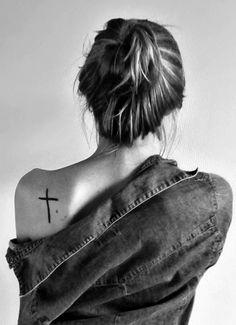 Plain Cross Tattoo On Shoulder