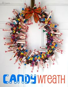 An easy step by step tutorial on how to make an adorable Candy Wreath!