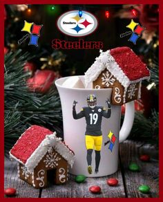 Steelers Pics, Gingerbread, Christmas Ornaments, Holiday Decor, Desserts, Food, Tailgate Desserts, Deserts, Ginger Beard
