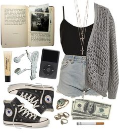 Dark denim jeans, black strapy top, grey cardie and converse ~ Casual day