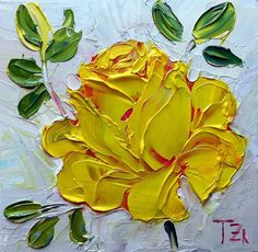 Yellow Rose Original impasto oil painting No.04-08 by TZartstudio