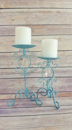 Candle Holders Ornate Pair Wrought Iron Turquoise  Farmhouse Vintage Up cycled Eco Friendly READY TO SHIP - pinned by pin4etsy.com