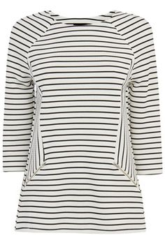 This on-trend stripe top is constructed from jersey and features a round neck, cropped sleeves, zip details and all-over stripe print. Height of model shown: 5ft 10 inches/178cm. Model wears: UK size 10.Fabric:Main: 97.0% Polyester