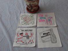 """Vintage Novelty Bar Paper Cocktail Napkins, Fort Howard Paper Co. 1950""""s Bar Ware, Gag Novelty Bar Napkins, Mid-Century Bar Napkins by BessyBellVintage on Etsy"""