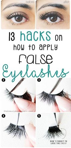Applying fake eyelashes can be a bit intimidating at first, but with the help of these hacks, tips and tricks you'll definitely become a falsies master in no time at all! Makeup Tricks, Makeup Tips Eyeshadow, Best Makeup Tips, Eye Makeup, Eyeliner Ideas, Liquid Makeup, False Eyelashes Tips, Applying False Lashes, Fake Lashes