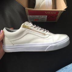 Leather Old Skool Zip (white/gold) Vans Size 8.5 Worn twice! Leather Vans Sneakers size 8.5 women's// size 7.0 men's Vans Shoes Sneakers