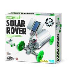 """{Solar Rover Science Kit} """"Place your Solar Rover outdoors on a sunny day and watch it zip along. No batteries are required. The Solar Rovers solar panel turns sunlight into the electricity that runs the motor. Recycle a soda can to make your Solar Rover unique."""" I am loving all these science kits from Grass Roots. Awesome!"""