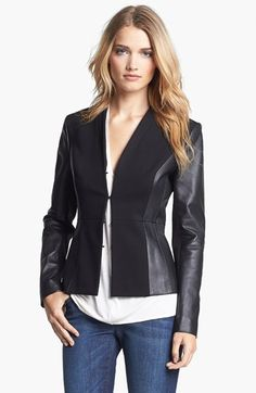 Classiques Entier® 'Lamb Moss' Ponte & Leather Jacket | NordstromLove this  http://www.TeamPegine.com