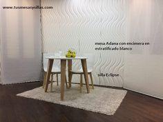 mesa redonda blanca extensible y silla eclipse cancio