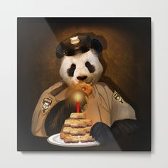 PANDA POLICE METAL PRINT @pointsalestore  #society6threesecond #metalprint #painting #digital #oil #popart #animal #bear #pandas #pandabear  #humor #cute #parody #birthday #pandalover #china #bamboo #baby #panda #lol #retro #pandaface #police