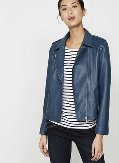 Beautifully crafted from buttery washed ink leather. This biker inspired jacket is the perfect cover-up, great to wear alone or under a coat for a chic layered look. Model is 5'10in and wears a UK size 10. Please note this garment requires specialist cleaning.The side neck point to hem measures 56cm/22in.