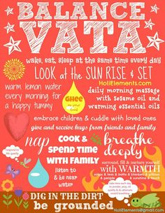 A pretty colorful and wonderful Ayurveda poster illustrating many vata dosha balancing practices according to Ayurvedic wisdom.
