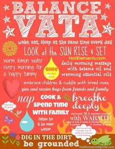 A pretty colorful and wonderful Ayurveda poster illustrating many vata dosha balancing practices according to Ayurvedic wisdom.