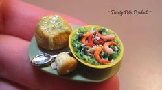 Tweety Petie Products: Soup in a bread bowl & Salad