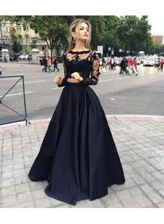USD$179.00 - Sexy Black Lace Long Sleeve 2016 Prom Dress Two Pieces Long Evening Gown - www.27dress.com