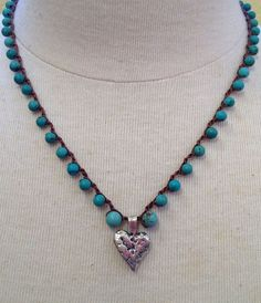 Turquoise Gemstone Sterling Silver Heart Crochet by TwoSilverSisters $40.00