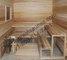 Completed interior of a Sauna kit Home Sauna Kit, Sauna Kits, Sauna Ideas, Sauna Design, Bath Design, Finnish Sauna, Cedar Log, Steam Bath, Saunas