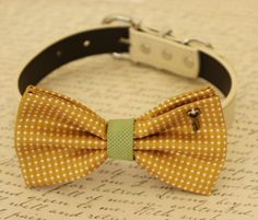 Mustard Dog Bow Tie, Bow attached to dog collar, Pet accessory, Dog collar, Charm, Heart Key, Dog birthday gift, Dog Lovers, Green
