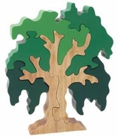 This willow tree looks too happy and bright to be weeping. Technically this is a puzzle, but we think it's also beautiful as sculpture. Wood Projects, Woodworking Projects, Wood Crafts, Diy And Crafts, Wooden Jigsaw Puzzles, Kids Jigsaw, Wooden Tree, Scroll Saw Patterns, Puzzle Toys