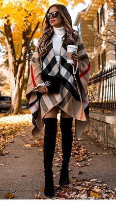 30 Chic Outfits To Wear On Thanksgiving Day what to wear with a poncho : bag over knee boots white high neck sweater The post 30 Chic Outfits To Wear On Thanksgiving Day & OTK Boots Outfit appeared first on Fall outfits . Black Women Fashion, Look Fashion, Womens Fashion, Fashion Trends, Fashion Ideas, Trendy Fashion, Ladies Fashion, Budget Fashion, Feminine Fashion