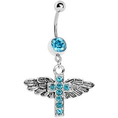 Aqua Gem Faith in Flight Winged Cross Belly Ring
