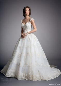 White and Gold Wedding. Sweetheart Corset Ballgown Dress. eve of milady couture wedding dress 2014 ball gown with cap sleeves style 4319