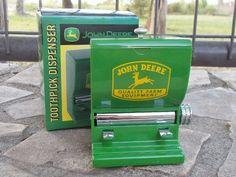 John Deere Tractor Logo Toothpick Dispenser Green USA Diner Style NIB Country…