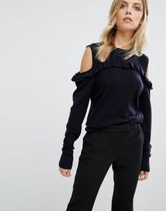 Buy Whistles Frill Cold Shoulder Knitted Jumper at ASOS. With free delivery and return options (Ts&Cs apply), online shopping has never been so easy. Get the latest trends with ASOS now. Asos Maternity, Sweater Design, Mannequin, Best Brand, Pulls, Fashion Online, Knitwear, Jumper, Sweaters For Women