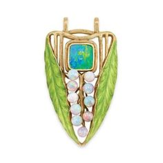 Art Nouveau Double Sided Gold, Black Opal, Opal and Enamel Leaf Pendant, Tiffany & Co., by Louis Comfort Tiffany for Sale at Auction on Tue, 10/06/2009 - 07:00 - Important Estate Jewelry   Doyle Auction House