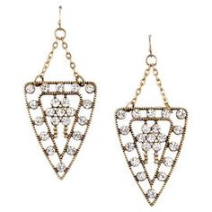 """Add a pop of style to evening ensembles and work outfits alike with these stunning gold-plated earrings, showcasing a shield-inspired design and rhinestone details.  Product: Pair of earringsConstruction Material: Gold-plated alloy and rhinestonesColor: Clear and goldFeatures:  Shield-inspired silhouetteHandmadeNickel-free Lead-freeDimensions: 3"""" H x 1.35"""" WCleaning and Care: Avoid all oils and chemicals (such as lotions, hairspray, makeup and perfumes). Put jewelry on last when getting ..."""
