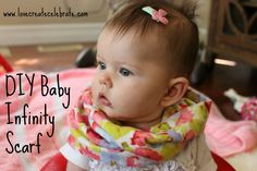 Sewing Ideas For Baby DIY Baby Infinity Scarf - Easy tutorial to sew an adorable infinity scarf for your little girl! - How cute is that scarf on my baby girl? I love this project! The beautiful thing about beautiful baby girls… Toddler Scarf, Baby Scarf, Baby Infinity Scarves, Cool Baby Clothes, Diy Clothes, Baby Sewing Projects, Sewing Ideas, Sewing Tutorials, Diy Projects
