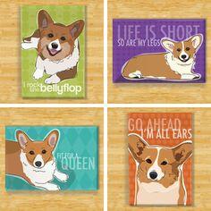 Red Pembroke Corgi Dog Magnet 4 Pack by PopDoggie on Etsy