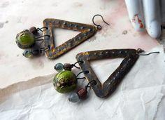 Rustic Geometric Metal Triangles - Wood and Glass Beads - Primitive Tribal Beaded Earrings. $40.00, via Etsy.