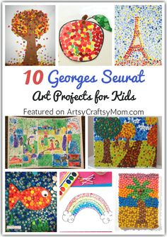 10 Georges Seurat Art Projects for Kids The artist Seurat showed us how a simple dot can create great art! Introduce kids to the science of color with these Georges Seurat art projects for kids. Art Lessons For Kids, Art Lessons Elementary, Projects For Kids, Art For Kids, Children Art Projects, Summer Art Projects, Simple Art Projects, Art Project For Kids, Preschool Art Lessons