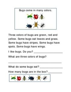 Bugs Following Directions Comprehension Emergent Reader Printable Write In Each Box Write Answers to Questions 2 pages. Great Reading Journal Supplement for Reading Intervention, Reading Fluency Skills, Comprehension, Word Work, Vocabulary Activity.