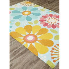 Jaipur Rugs Glacier Iconic By Petit Collage Spring Flowers rug - Country & Floral Rectangle x Kids Area Rugs, Blue Area Rugs, Wool Carpet, Rugs On Carpet, Carpets Online, Jaipur Rugs, Indian Rugs, Red Rugs, Throw Rugs