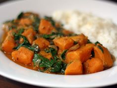 Recipe for sweet potato and spinach curry from Serious Eats. Vegetarian Curry, Vegetarian Recipes, Cooking Recipes, Healthy Recipes, Potato Spinach Curry, Sweet Potato Curry, Serious Eats, Curry Recipes, Vegetable Recipes