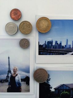 Turn your extra foreign coins into magnets and display your pics on your fridge. | 19 Gorgeous Ways To Display Your Favorite Travel Photos