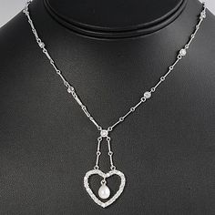 Order Heart Design Silver CZ Necklace for women. @$34.39 #womenjewellery #DesigningNecklace