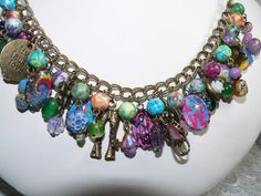 "Hippie Jewelry -Charm Bracelet - Hippie Chic - ""LOVE & PEACE""-  in Antique Brass"