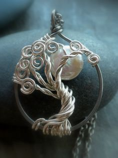 Tree of Life jewelry #pearl #tree of Life #moon #sterling silver #handmade Visit me here http://www.facebook.com/pages/Vixens-Natural-Jewelry/284357900776 and here http://www.artfire.com/ext/shop/studio/Vixensnaturaljewelry