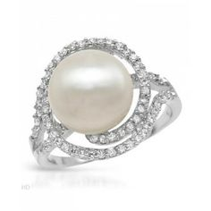 our 12mm Freshwater 1.80 CTW Pearl Sterling Silver Ring is accented with cz's and adds the perfect modern touch.